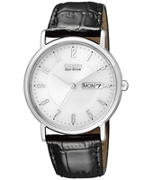 Elegance Eco-Drive 36mm Steel & White Day/date Ecodrive Ladies Watch, Black Strap