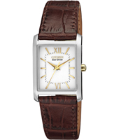 Elegance Eco-Drive 25mm Square Silver Ladies Watch