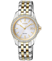 Elegance Eco-Drive 28mm Two-tone solar ladies watch with crystals