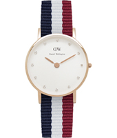 Classy Cambridge 26mm Rose gold watch with textile strap
