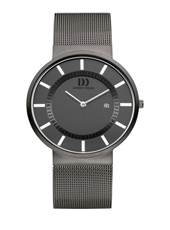38mm Dark Grey & White Watch with Date on Mesh Strap