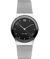 32.50mm Silver & Black Ladies Design Watch