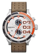 Double Down 48mm Large Grey & Orange Chrono with Date, Brown Strap