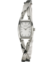 Crossover  Tonneau Silver Ladies Watch with Crystals