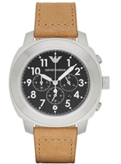 Delta 46mm Steel mens chronograph with light brown leather strap
