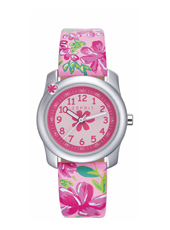 Tropical flowers Silver girls watch with floral print
