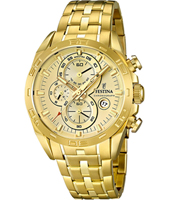 44mm Gold Sports Quartz Chronograph Watch