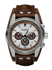 Coachman  44mm Steel & Brown Chrono with Date on Cuff Strap
