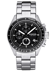 Decker 44mm Modern Black & Steel Gents Chrono with Date