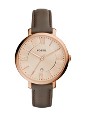 Jacqueline 36mm Rose Gold Watch on Brown Strap