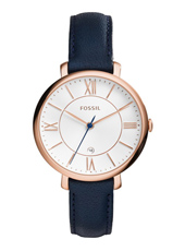 Jacqueline 36mm Rose gold ladies watch with blue leather strap