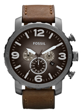 Nate 49mm Large Grey & Brown Chrono with Date on Brown Leather Strap