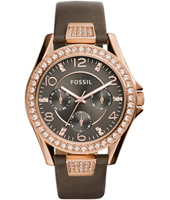 Riley 38mm Rose gold ladies watch with crystals, dark grey dial and leather strap