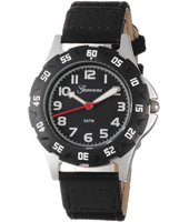 Black Sports Watch with Textile on Leather Strap