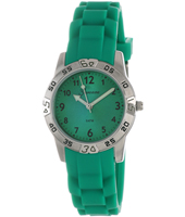 Sporty  Steel & Green Kids watch on Green rubber strap