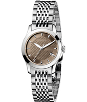 G-Timeless Small Brown 27mm Silver Ladies Watch With Stainless Steel Bracelet