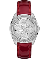 Cena 40mm Silver Ladies Watch with Red Leather Strap