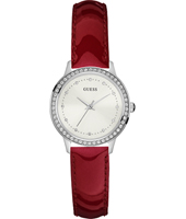 Chelsea 30mm Silver Ladies Watch with Red Leather Strap