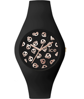 Ice-Skull Black watch with skull dial and silicone strap
