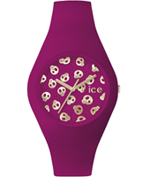 Ice-Skull Purple watch with skull dial and silicone strap