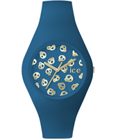 Ice-Skull Blue watch with skull dial and silicone strap