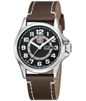 Field  43mm Automatic Steel & Black Day/Date Watch on Brown Leather Strap