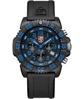 Navy Seal Colormark  44mm Black/Bright Blue Carbon Dive Chrono, Rubber strap