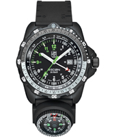 Recon Compass 46mm Black Carbon GMT Watch with Compass on Rubber Strap