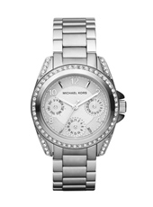 Blair Mini 33mm Silver Multifunction Watch with Crystals