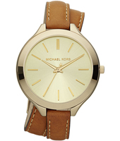 Runway Slim 42mm Gold Watch with Double Twist Strap