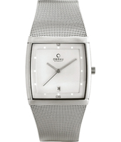 V102  34mm Square Steel & White Watch with Date, Mesh Strap