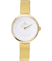 V177 28mm Gold Design Watch with Crystals