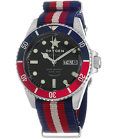 Diver Vintage 41 Flag  Steel Vintage look Diver with Pepsi Bezel on NATO Strap