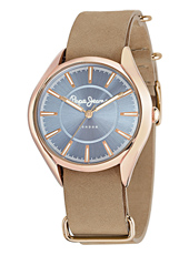 Alice 38mm Rose Gold Ladies Watch With A Continuous Beige Leather Strap
