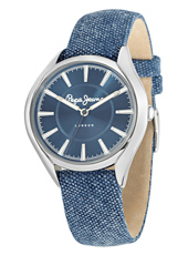 Alice 38mm Silver Ladies Watch With Denim Blue Leather/Textile Strap