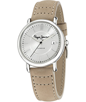 Charlie 36mm Silver Ladies Watch With Date Display And Beige Leather Strap