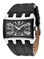 Dimension 42.30mm Steel & Black Warped Rectangle Watch