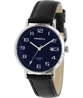 Stainless Steel 37mm Stainless steel watch with blue dial and black leather strap