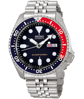 42mm Automatic Steel & Black 20 ATM Day/Date Dive Watch with Pepsi Bezel
