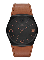 Havene XL 42mm Black Gents Watch with Brown Strap