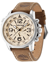 Campton 46mm Silver day/date mens watch with brown leather strap