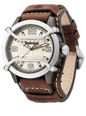Maplewood 44mm Silver mens watch with date and brown leather strap