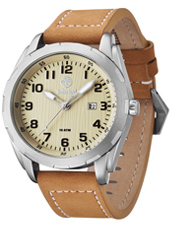 Newmarket 45mm Silver mens watch with date and light brown leather strap
