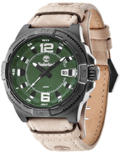 Penacook 46mm Black mens watch with green dial and beige leather strap