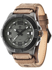 Penacook 46mm Black mens watch with date and brown leather strap