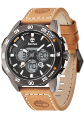 Thorndike 46mm Black ana-digi mens watch with light brown leather strap