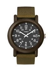 Camper  40mm Sporty Black Watch on Olive Green Nylon Strap