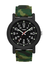 Camper  40mm Sporty Black Watch on Green Camo Strap