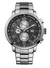 Tyler  45.50mm Steel & Black Month/Day/Date Watch with Tachymeter