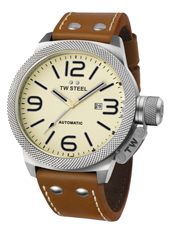 Canteen Automatic 45mm Steel Watch with Date. Cream Dial, Brown Strap